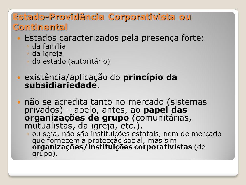 Estado-Providência Corporativista ou Continental Estados caracterizados pela presença forte: da família da igreja do estado (autoritário) existência/a