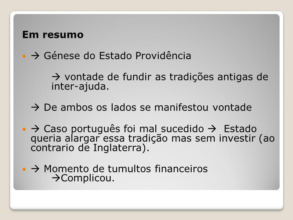 Em resumo Génese do Estado Providência vontade de fundir as tradições antigas de inter-ajuda. De ambos os lados se manifestou vontade Caso português f