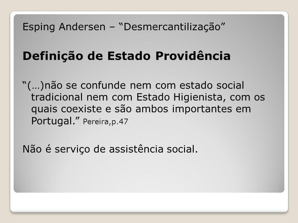 Esping Andersen – Desmercantilização Definição de Estado Providência (…)não se confunde nem com estado social tradicional nem com Estado Higienista, c