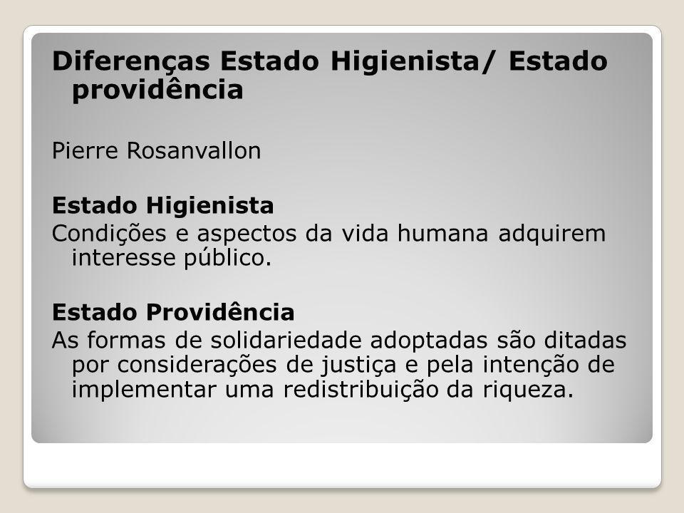 Diferenças Estado Higienista/ Estado providência Pierre Rosanvallon Estado Higienista Condições e aspectos da vida humana adquirem interesse público.