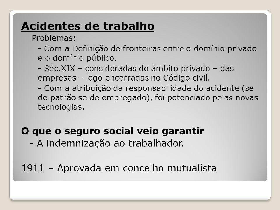 Acidentes de trabalho Problemas: - Com a Definição de fronteiras entre o domínio privado e o domínio público. - Séc.XIX – consideradas do âmbito priva