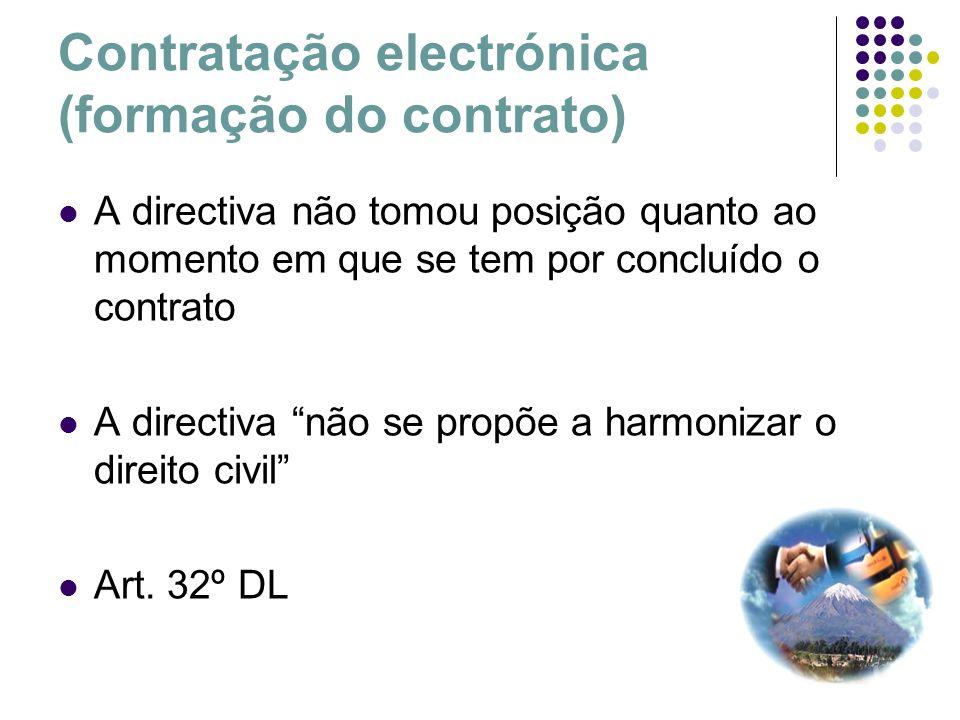 Contratação electrónica (formação do contrato) A directiva não tomou posição quanto ao momento em que se tem por concluído o contrato A directiva não
