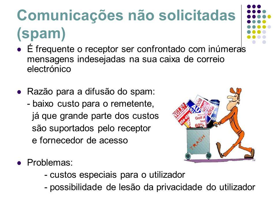 Comunicações não solicitadas (spam) É frequente o receptor ser confrontado com inúmeras mensagens indesejadas na sua caixa de correio electrónico Razã