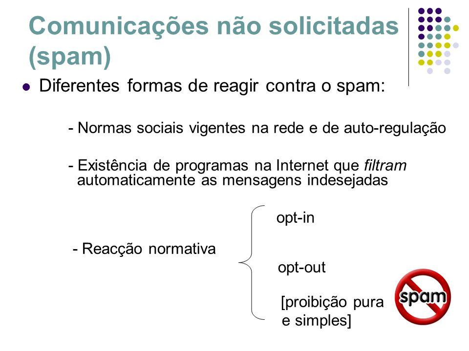 Comunicações não solicitadas (spam) Diferentes formas de reagir contra o spam: - Normas sociais vigentes na rede e de auto-regulação - Existência de p