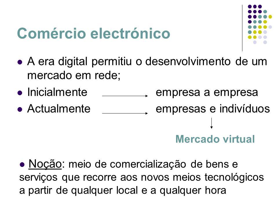 Comércio electrónico A era digital permitiu o desenvolvimento de um mercado em rede; Inicialmenteempresa a empresa Actualmenteempresas e indivíduos Me