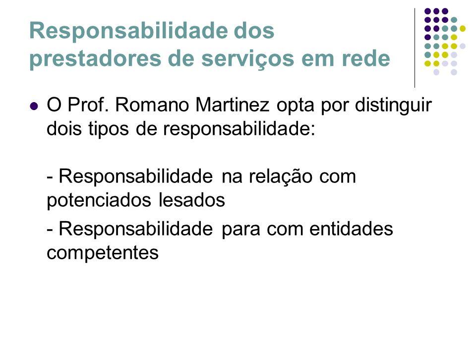 Responsabilidade dos prestadores de serviços em rede O Prof. Romano Martinez opta por distinguir dois tipos de responsabilidade: - Responsabilidade na