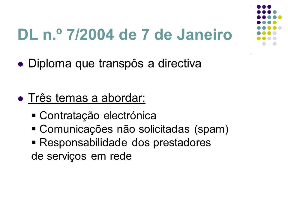 DL n.º 7/2004 de 7 de Janeiro Diploma que transpôs a directiva Três temas a abordar: Contratação electrónica Comunicações não solicitadas (spam) Respo
