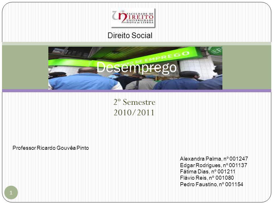 2º Semestre 2010/2011 1 Desemprego Direito Social Alexandra Palma, nº 001247 Edgar Rodrigues, nº 001137 Fátima Dias, nº 001211 Flávio Reis, nº 001080