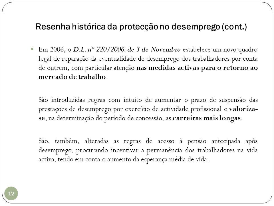 Resenha histórica da protecção no desemprego (cont.) 12 Em 2006, o D.L. nº 220/2006, de 3 de Novembro estabelece um novo quadro legal de reparação da