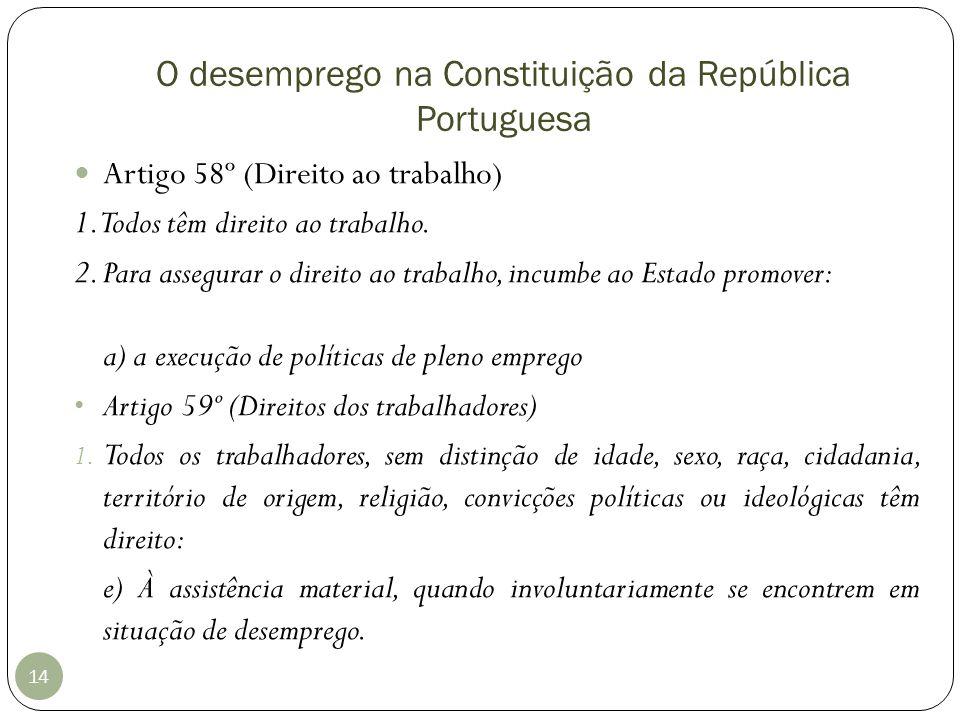O desemprego na Constituição da República Portuguesa 14 Artigo 58º (Direito ao trabalho) 1. Todos têm direito ao trabalho. 2. Para assegurar o direito