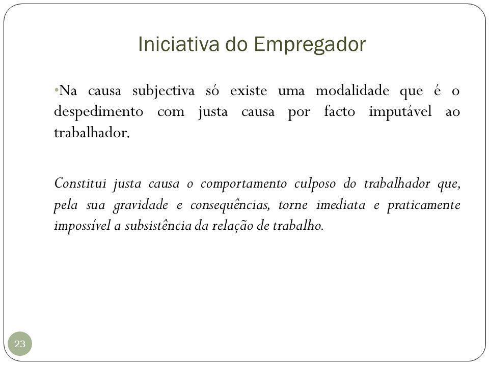 Iniciativa do Empregador 23 Na causa subjectiva só existe uma modalidade que é o despedimento com justa causa por facto imputável ao trabalhador. Cons