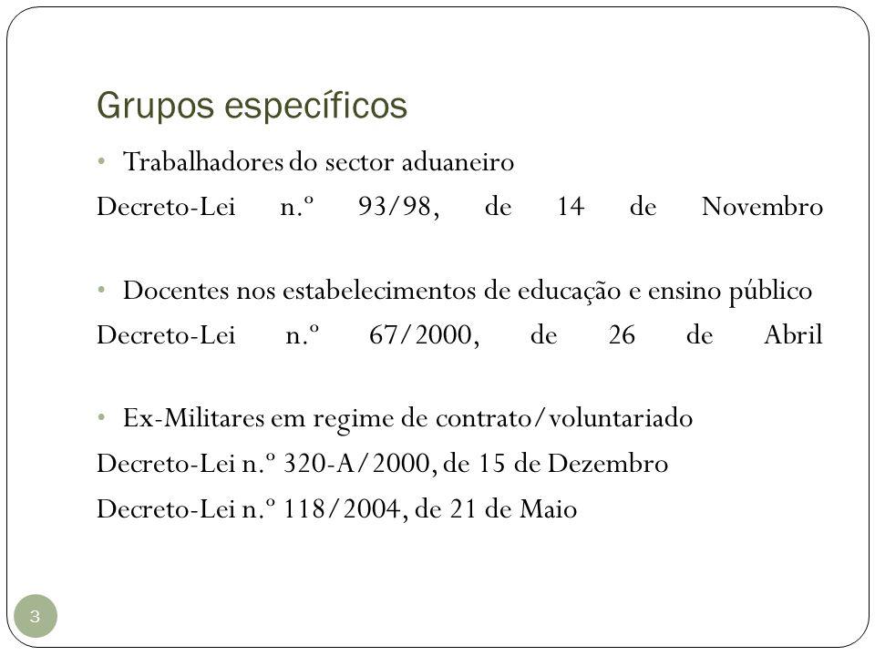 Grupos específicos 3 Trabalhadores do sector aduaneiro Decreto-Lei n.º 93/98, de 14 de Novembro Docentes nos estabelecimentos de educação e ensino púb