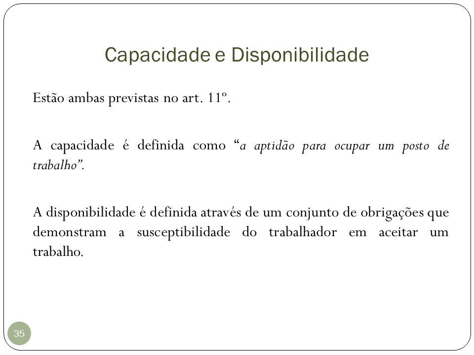 Capacidade e Disponibilidade 35 Estão ambas previstas no art. 11º. A capacidade é definida como a aptidão para ocupar um posto de trabalho. A disponib
