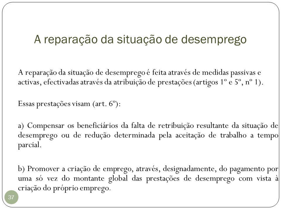 A reparação da situação de desemprego 37 A reparação da situação de desemprego é feita através de medidas passivas e activas, efectivadas através da a