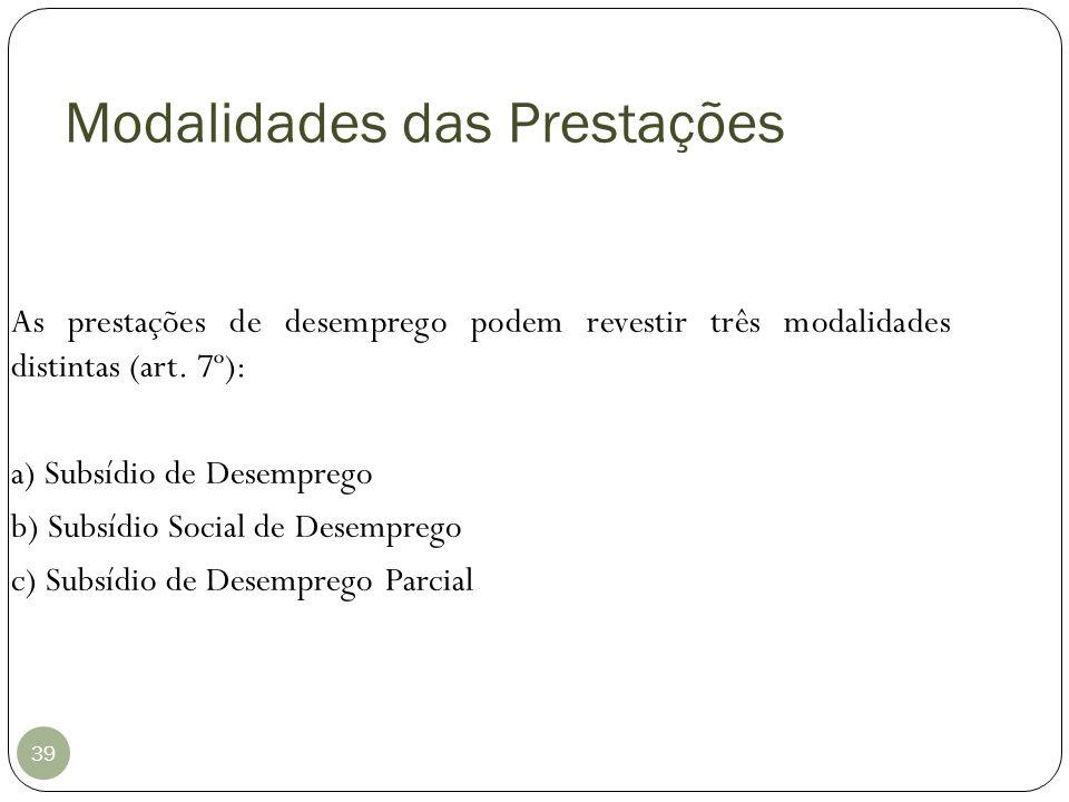 Modalidades das Prestações 39 As prestações de desemprego podem revestir três modalidades distintas (art. 7º): a) Subsídio de Desemprego b) Subsídio S