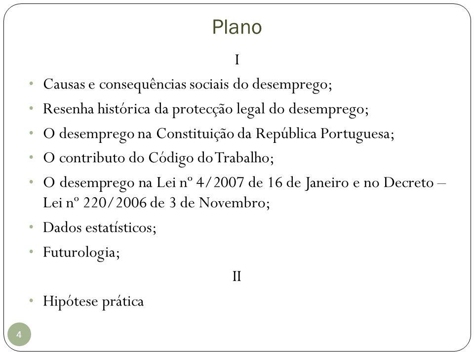 Plano 4 I Causas e consequências sociais do desemprego; Resenha histórica da protecção legal do desemprego; O desemprego na Constituição da República
