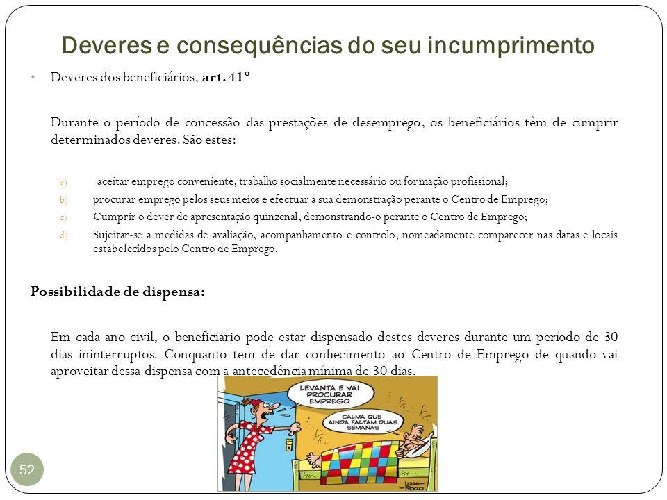 Deveres e consequências do seu incumprimento 52 Deveres dos beneficiários, art. 41º Durante o período de concessão das prestações de desemprego, os be