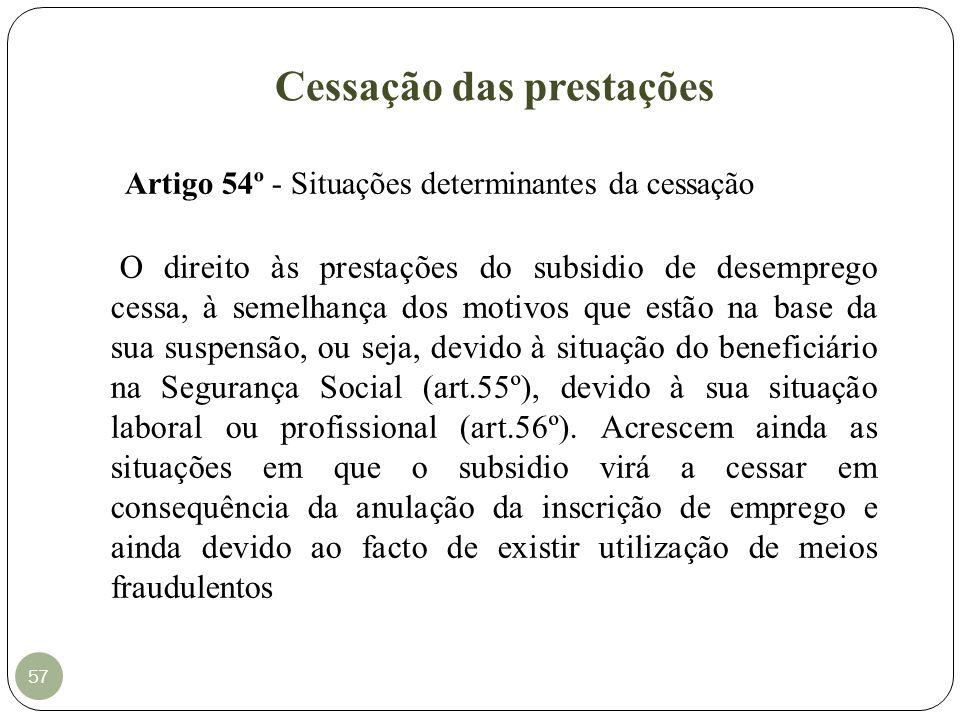 Cessação das prestações 57 Artigo 54º - Situações determinantes da cessação O direito às prestações do subsidio de desemprego cessa, à semelhança dos