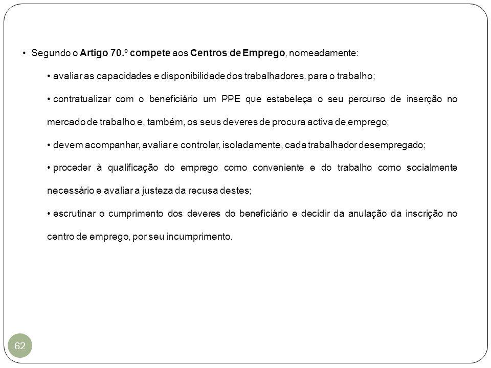Segundo o Artigo 70.º compete aos Centros de Emprego, nomeadamente: avaliar as capacidades e disponibilidade dos trabalhadores, para o trabalho; contr