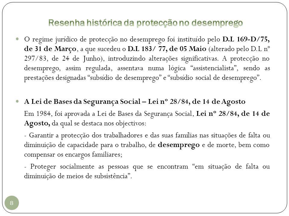 8 O regime jurídico de protecção no desemprego foi instituído pelo D.L 169-D/75, de 31 de Março, a que sucedeu o D.L 183/ 77, de 05 Maio (alterado pel
