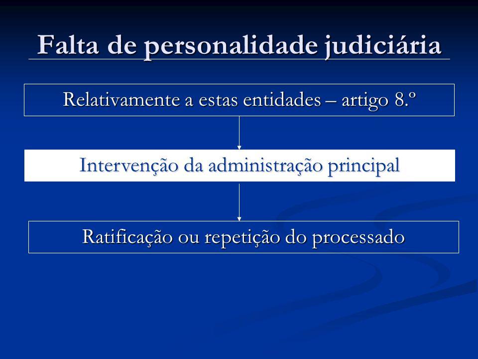 Falta de personalidade judiciária Relativamente a estas entidades – artigo 8.º Intervenção da administração principal Ratificação ou repetição do proc