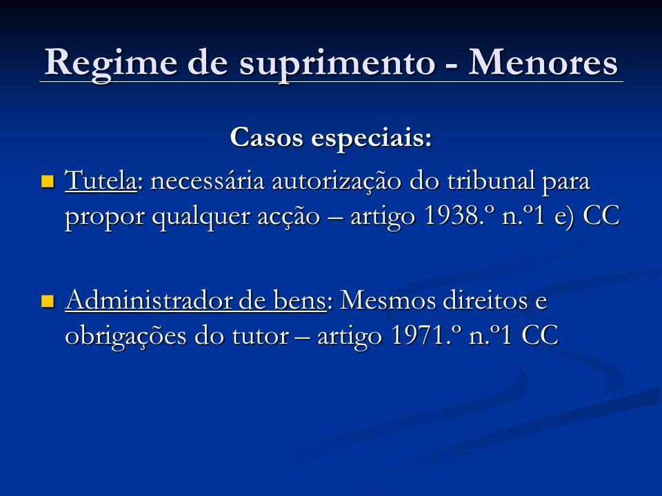 Regime de suprimento - Menores Casos especiais: Tutela: necessária autorização do tribunal para propor qualquer acção – artigo 1938.º n.º1 e) CC Tutel