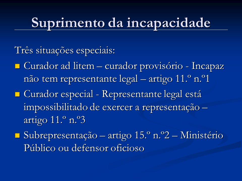 Suprimento da incapacidade Três situações especiais: Curador ad litem – curador provisório - Incapaz não tem representante legal – artigo 11.º n.º1 Cu