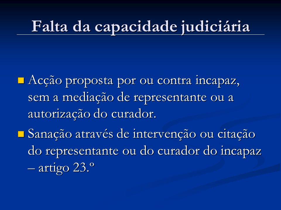 Falta da capacidade judiciária Acção proposta por ou contra incapaz, sem a mediação de representante ou a autorização do curador. Acção proposta por o