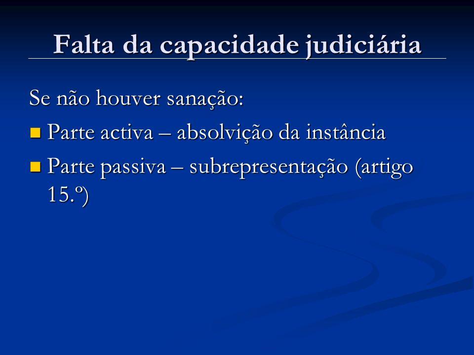 Falta da capacidade judiciária Se não houver sanação: Parte activa – absolvição da instância Parte activa – absolvição da instância Parte passiva – su
