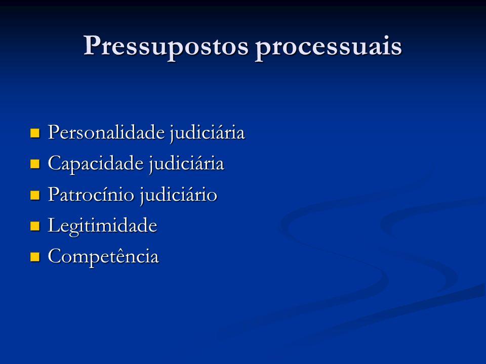 Pressupostos processuais Personalidade judiciária Personalidade judiciária Capacidade judiciária Capacidade judiciária Patrocínio judiciário Patrocíni