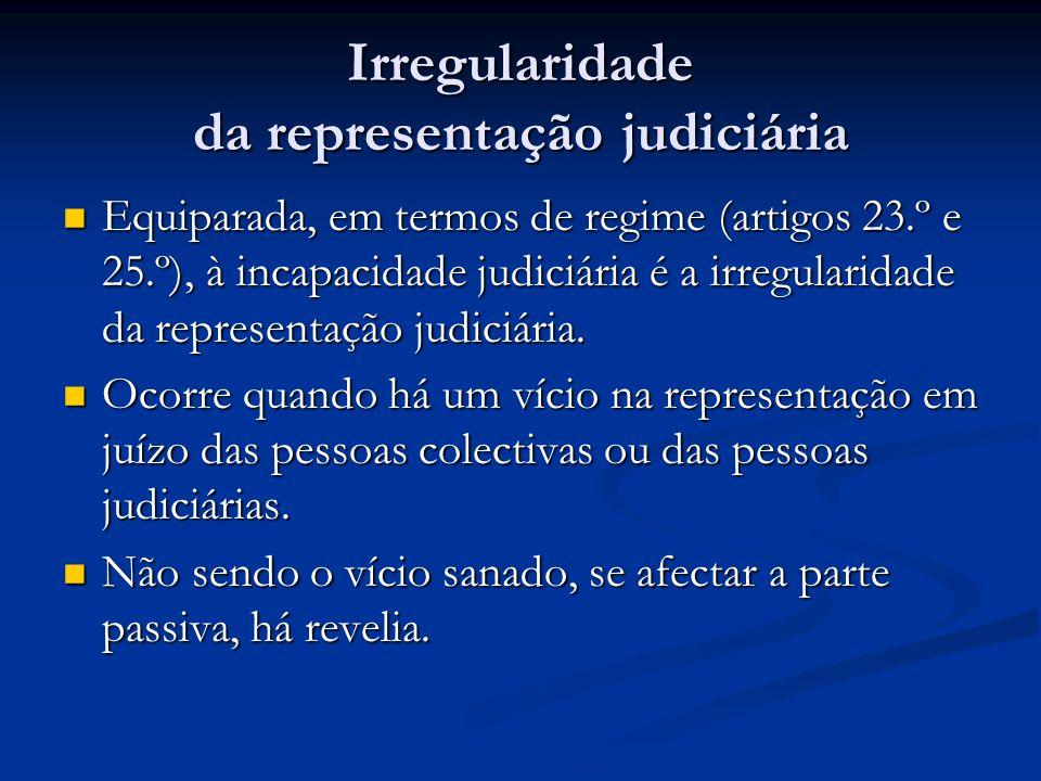 Irregularidade da representação judiciária Equiparada, em termos de regime (artigos 23.º e 25.º), à incapacidade judiciária é a irregularidade da repr