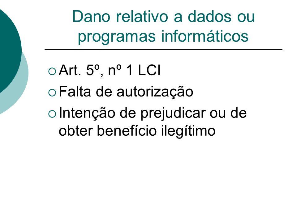 Dano relativo a dados ou programas informáticos Art. 5º, nº 1 LCI Falta de autorização Intenção de prejudicar ou de obter benefício ilegítimo