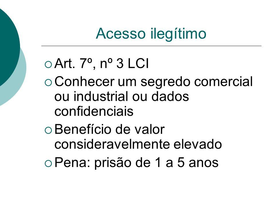 Acesso ilegítimo Art. 7º, nº 3 LCI Conhecer um segredo comercial ou industrial ou dados confidenciais Benefício de valor consideravelmente elevado Pen