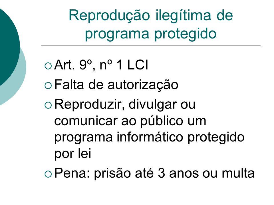 Reprodução ilegítima de programa protegido Art. 9º, nº 1 LCI Falta de autorização Reproduzir, divulgar ou comunicar ao público um programa informático