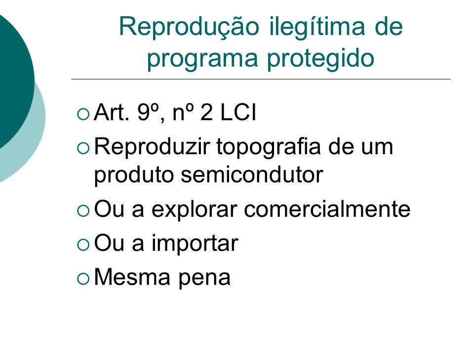 Reprodução ilegítima de programa protegido Art. 9º, nº 2 LCI Reproduzir topografia de um produto semicondutor Ou a explorar comercialmente Ou a import