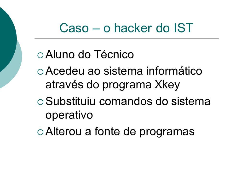 Caso – o hacker do IST Aluno do Técnico Acedeu ao sistema informático através do programa Xkey Substituiu comandos do sistema operativo Alterou a font
