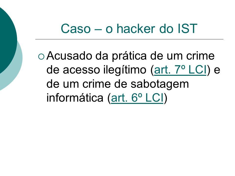 Caso – o hacker do IST Acusado da prática de um crime de acesso ilegítimo (art. 7º LCI) e de um crime de sabotagem informática (art. 6º LCI)art. 7º LC