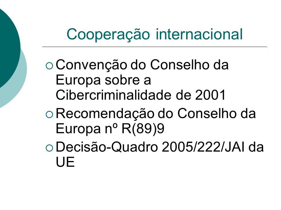 Cooperação internacional Convenção do Conselho da Europa sobre a Cibercriminalidade de 2001 Recomendação do Conselho da Europa nº R(89)9 Decisão-Quadr