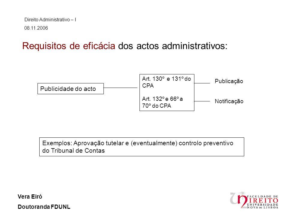 Requisitos de eficácia dos actos administrativos: Direito Administrativo – I 08.11.2006 Vera Eiró Doutoranda FDUNL Publicidade do acto Exemplos: Aprov
