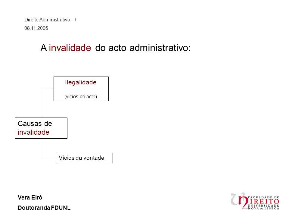 Direito Administrativo – I 08.11.2006 Vera Eiró Doutoranda FDUNL A invalidade do acto administrativo: Vícios da vontade Causas de invalidade Ilegalida