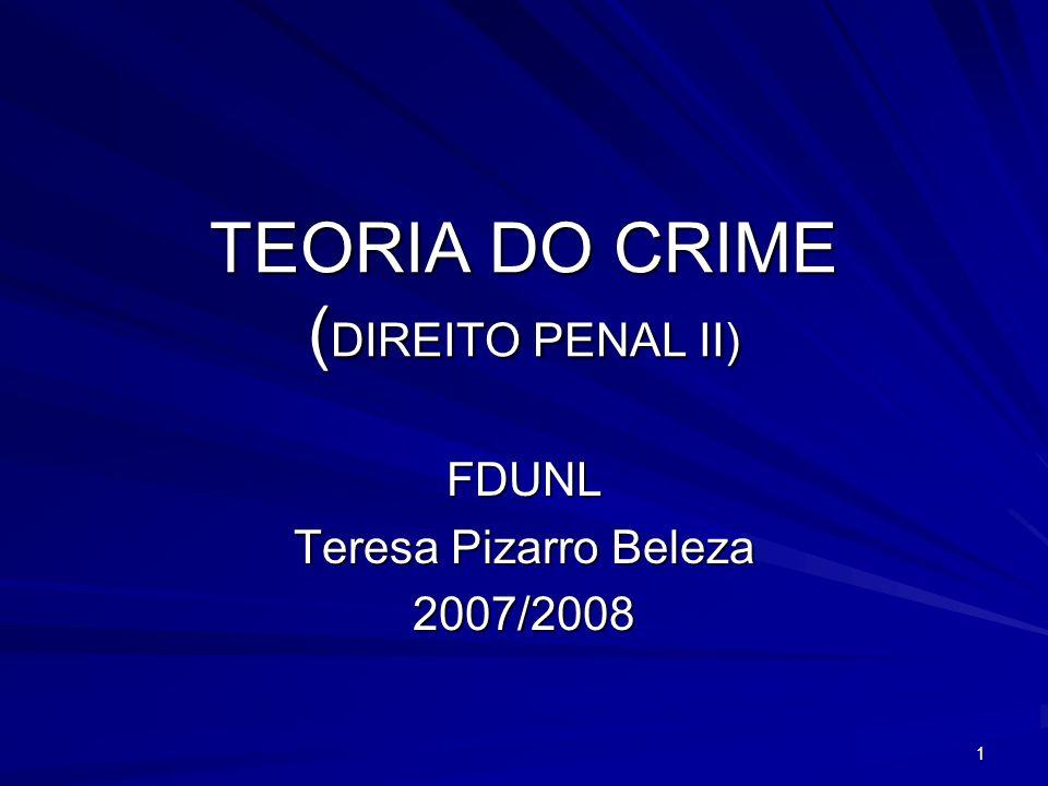 1 TEORIA DO CRIME ( DIREITO PENAL II) FDUNL Teresa Pizarro Beleza 2007/2008