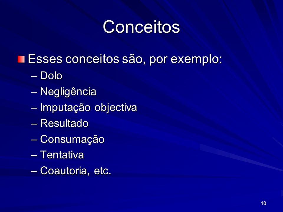 10 Conceitos Esses conceitos são, por exemplo: –Dolo –Negligência –Imputação objectiva –Resultado –Consumação –Tentativa –Coautoria, etc.