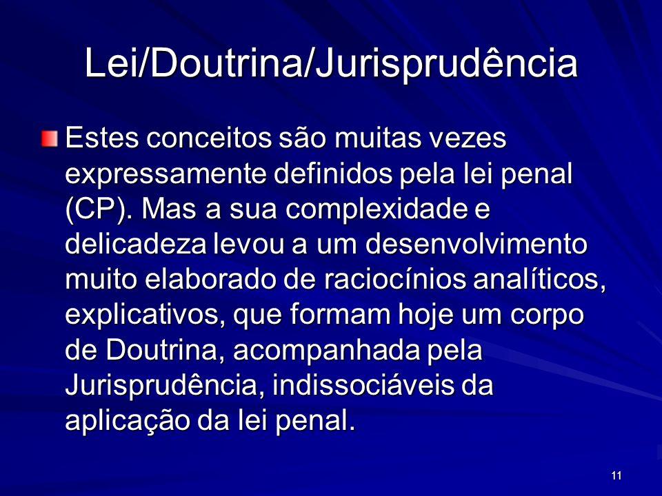 11 Lei/Doutrina/Jurisprudência Estes conceitos são muitas vezes expressamente definidos pela lei penal (CP). Mas a sua complexidade e delicadeza levou