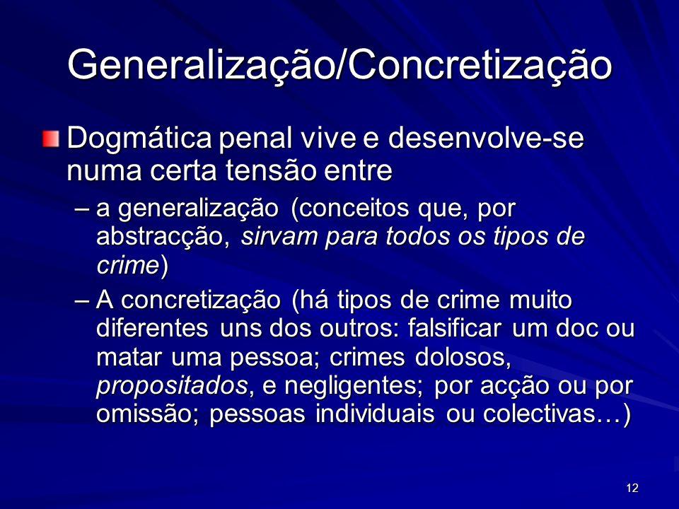 12 Generalização/Concretização Dogmática penal vive e desenvolve-se numa certa tensão entre –a generalização (conceitos que, por abstracção, sirvam pa