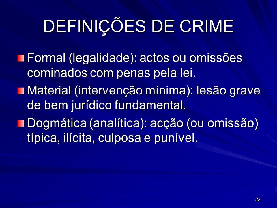 22 DEFINIÇÕES DE CRIME Formal (legalidade): actos ou omissões cominados com penas pela lei. Material (intervenção mínima): lesão grave de bem jurídico