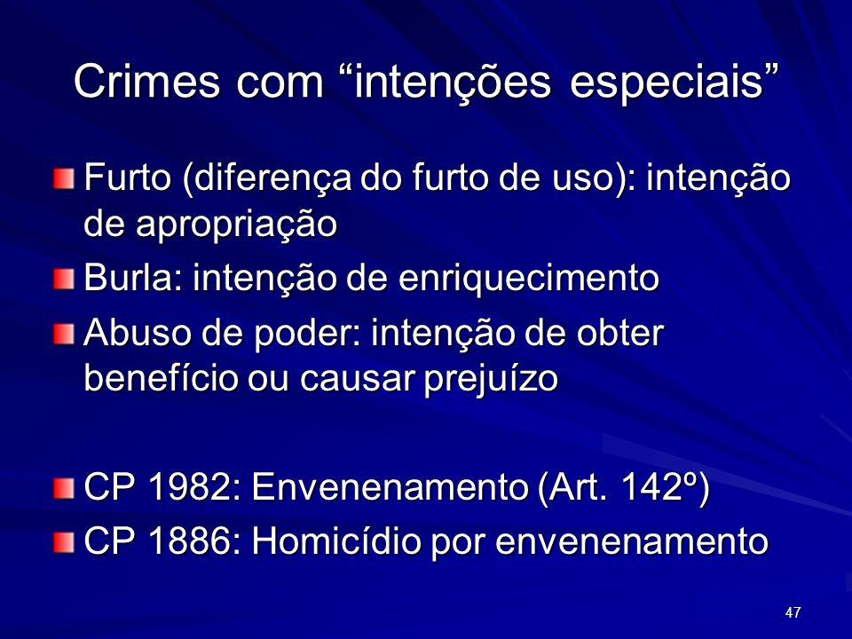 47 Crimes com intenções especiais Furto (diferença do furto de uso): intenção de apropriação Burla: intenção de enriquecimento Abuso de poder: intençã