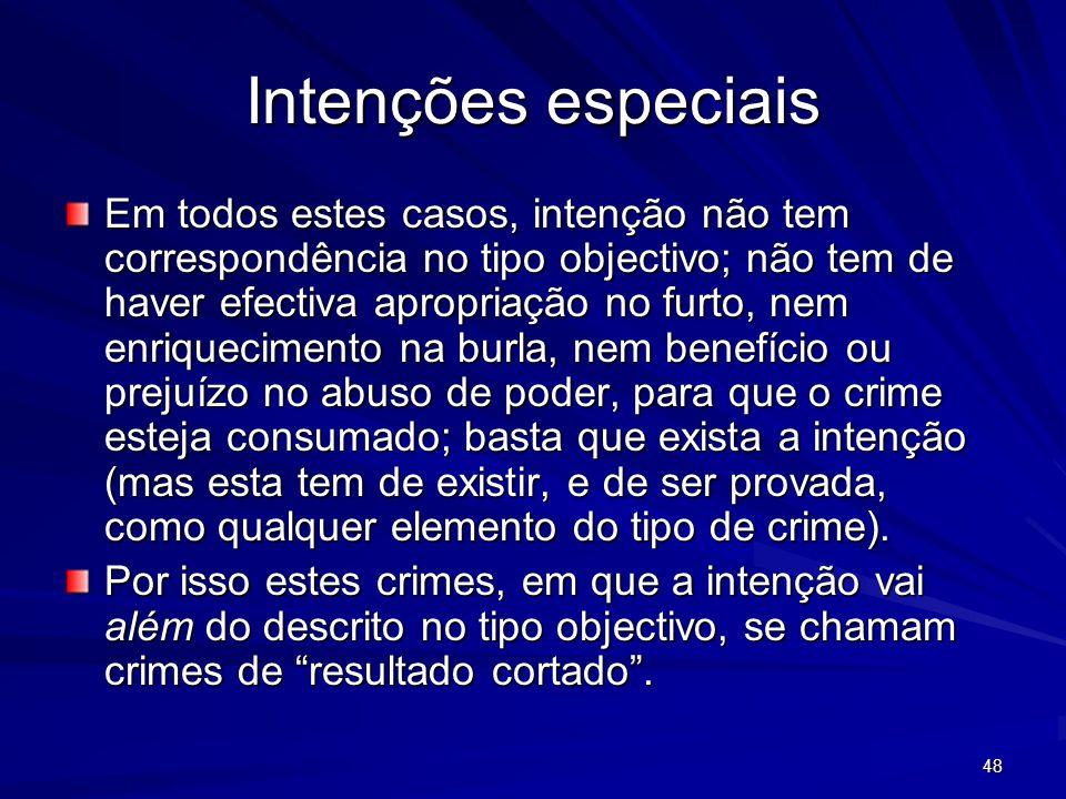48 Intenções especiais Em todos estes casos, intenção não tem correspondência no tipo objectivo; não tem de haver efectiva apropriação no furto, nem e