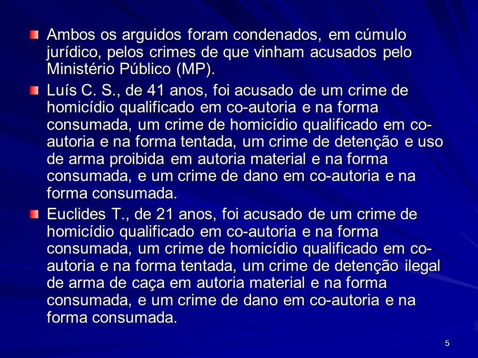 5 Ambos os arguidos foram condenados, em cúmulo jurídico, pelos crimes de que vinham acusados pelo Ministério Público (MP). Luís C. S., de 41 anos, fo
