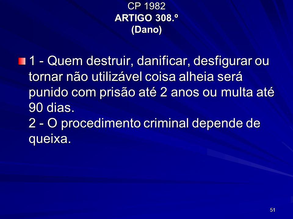 51 CP 1982 ARTIGO 308.º (Dano) 1 - Quem destruir, danificar, desfigurar ou tornar não utilizável coisa alheia será punido com prisão até 2 anos ou mul