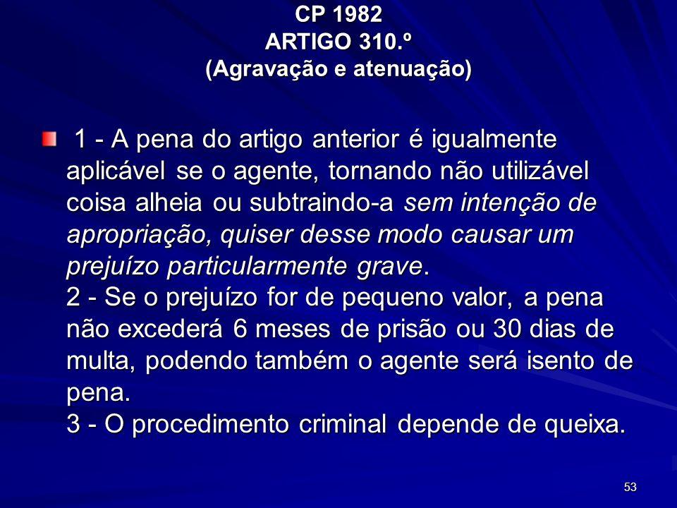 53 CP 1982 ARTIGO 310.º (Agravação e atenuação) 1 - A pena do artigo anterior é igualmente aplicável se o agente, tornando não utilizável coisa alheia